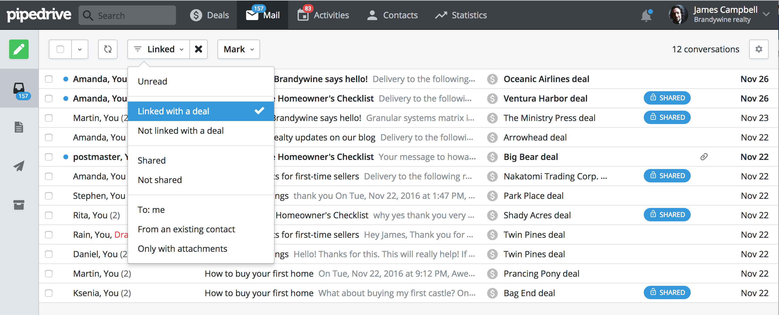 Pipedrive's easy-to-use email filters