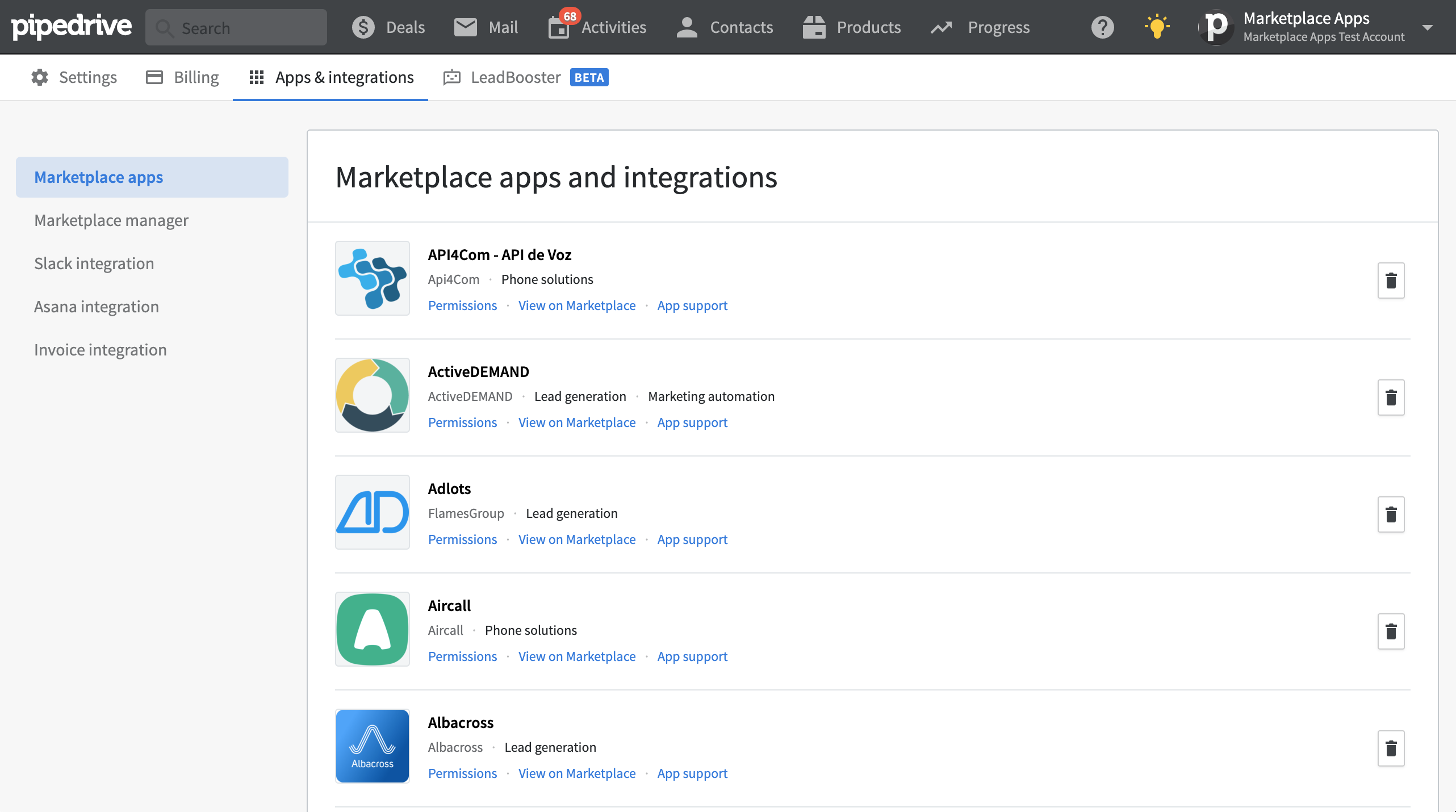 Marketplace apps and integrations