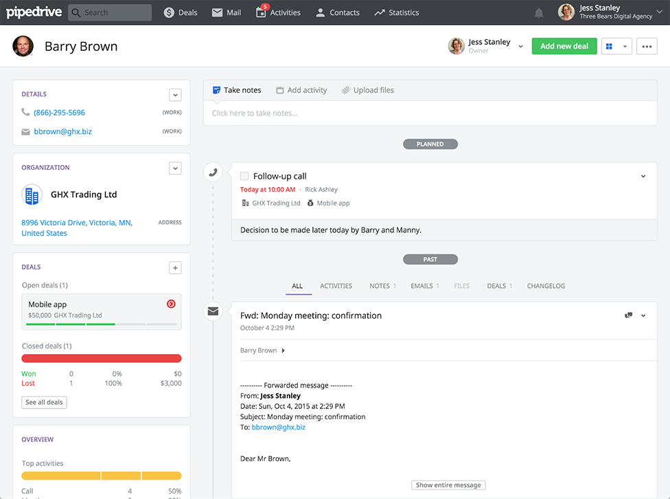 Pipedrive contact view