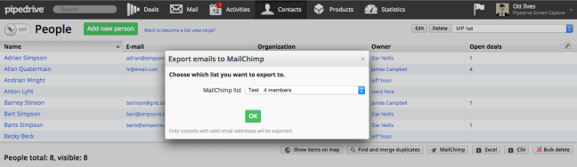 Export Emails MailChimp Pipedrive