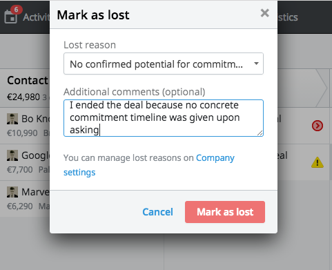 Proactively marking a deal lost in Pipedrive