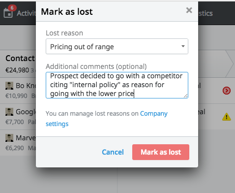 Reactively marking a deal lost in Pipedrive