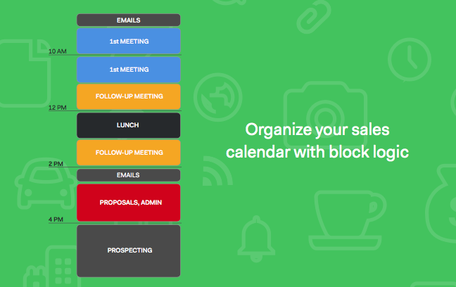 Sales calendar by block logic