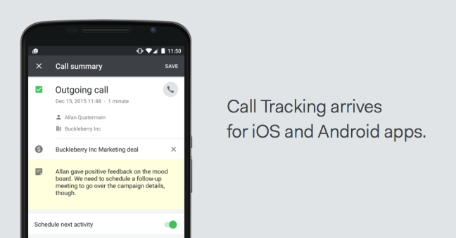 call tracking feature Pipedrive mobile app