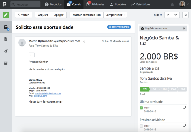 Pipedrive individual email portuguese