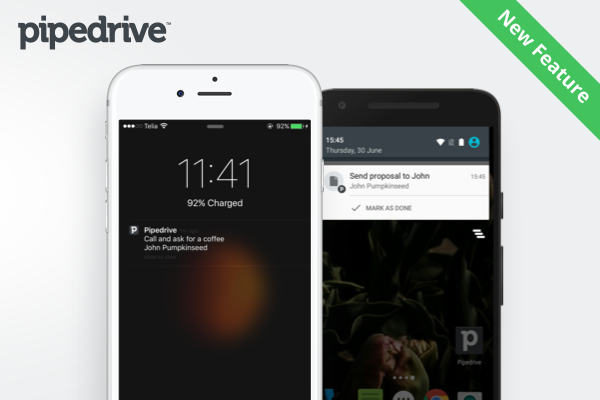 Pipedrive mobile app, activities, notifications, crm