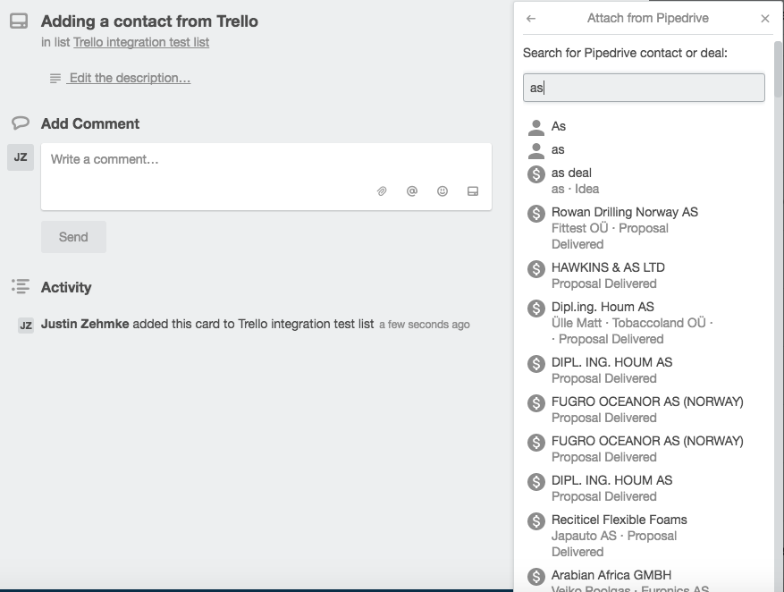Adding a contact fro Trello