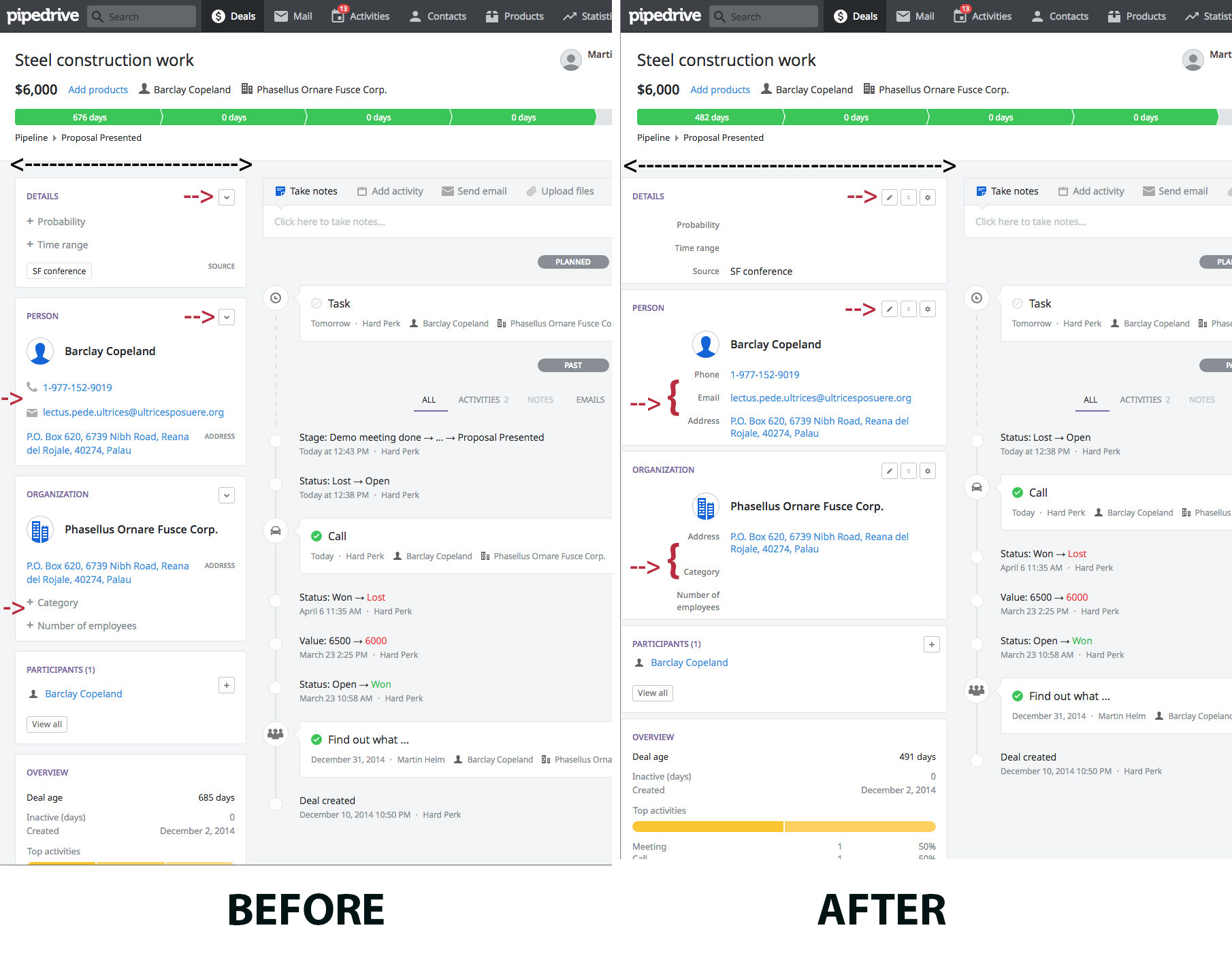 before and after your managing details page