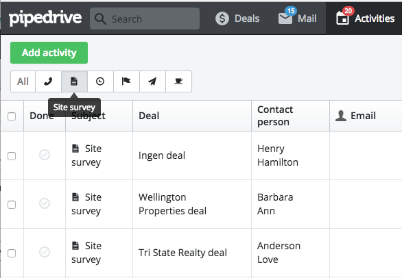 10 Pipedrive Habits Custom Activities Site Survey