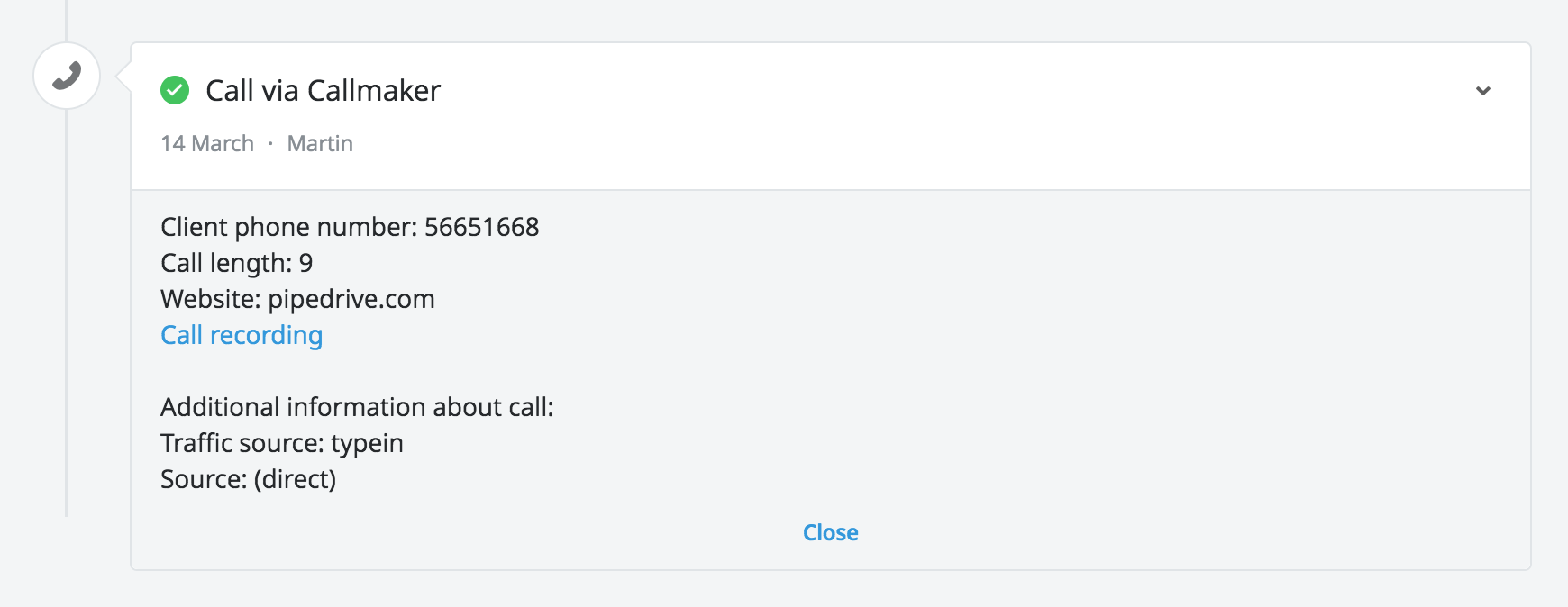 Pipedrive Callmaker Integration