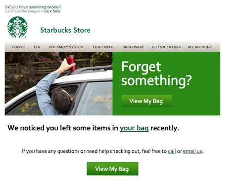 Starbucks abandoned cart email