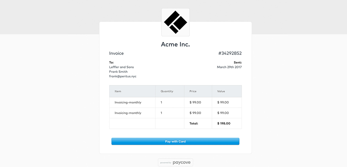 Paycove Invoice