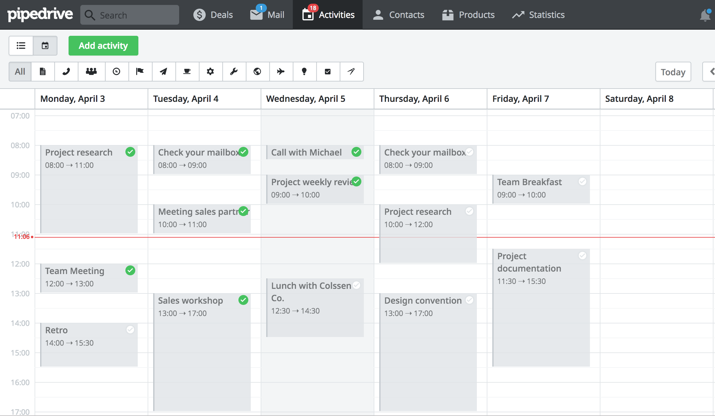 Activity scheduler for simple meeting time setup