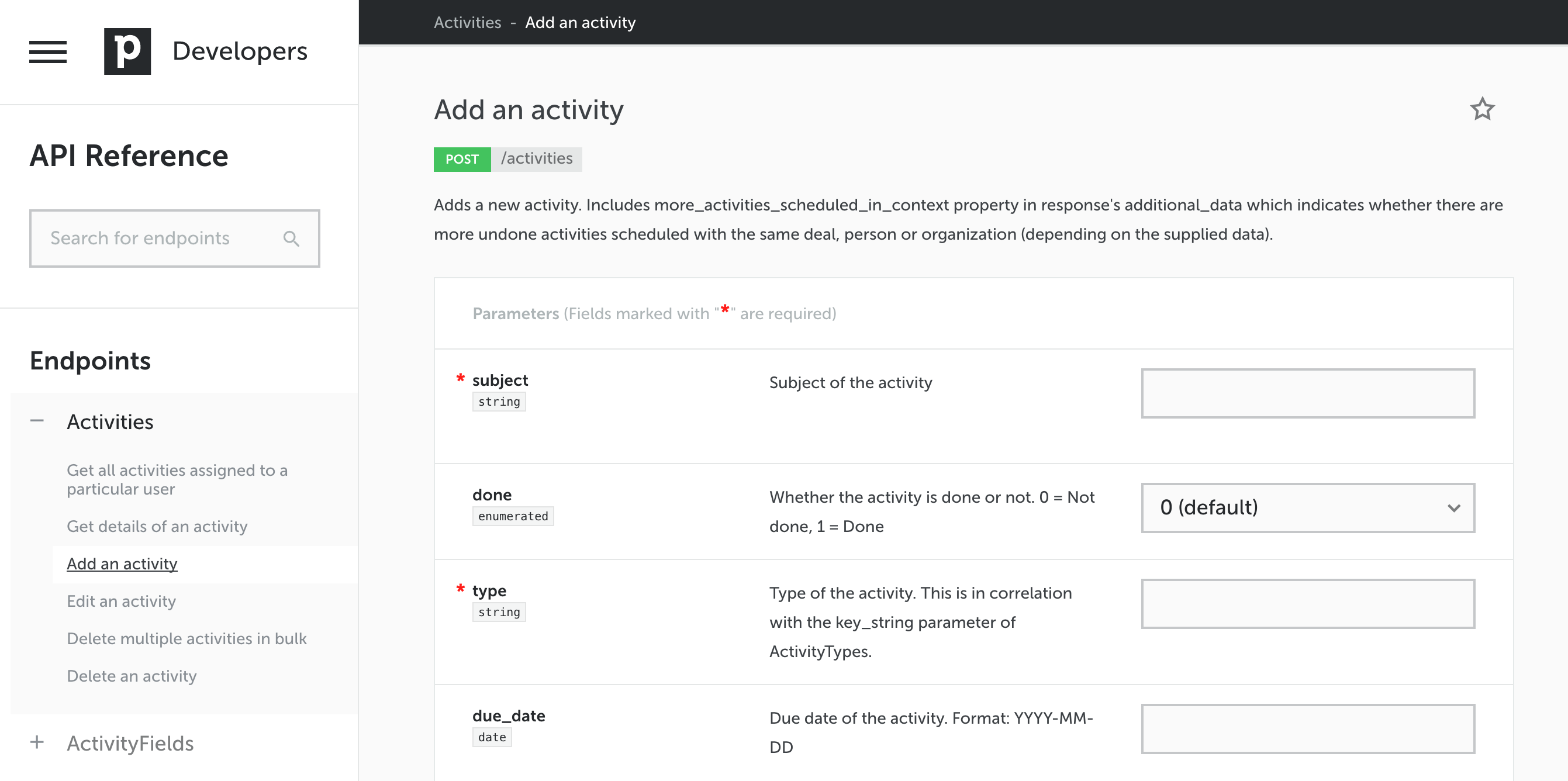 API Reference - new layout (endpoint view with parameters)