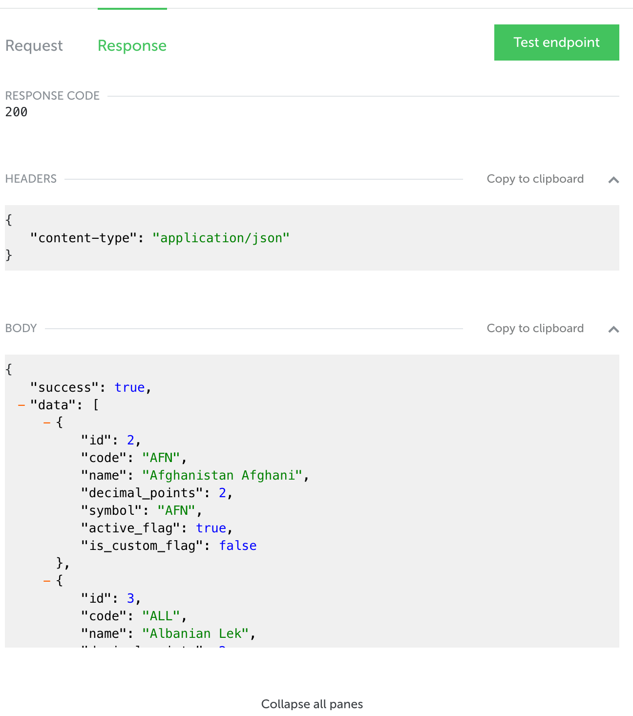 API Reference - response section with collapsible JSON elements