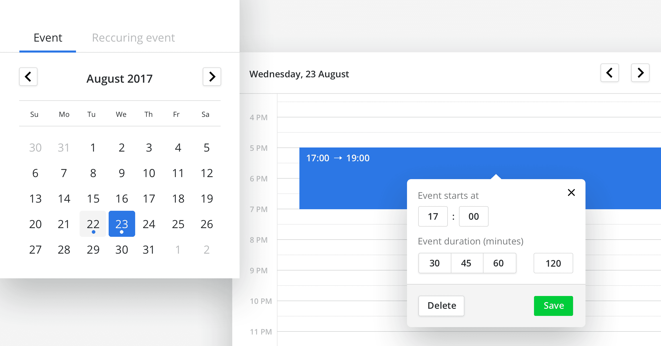 Scheduling Tool and Appointment Calendar