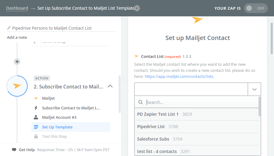 Mailjet contact set up