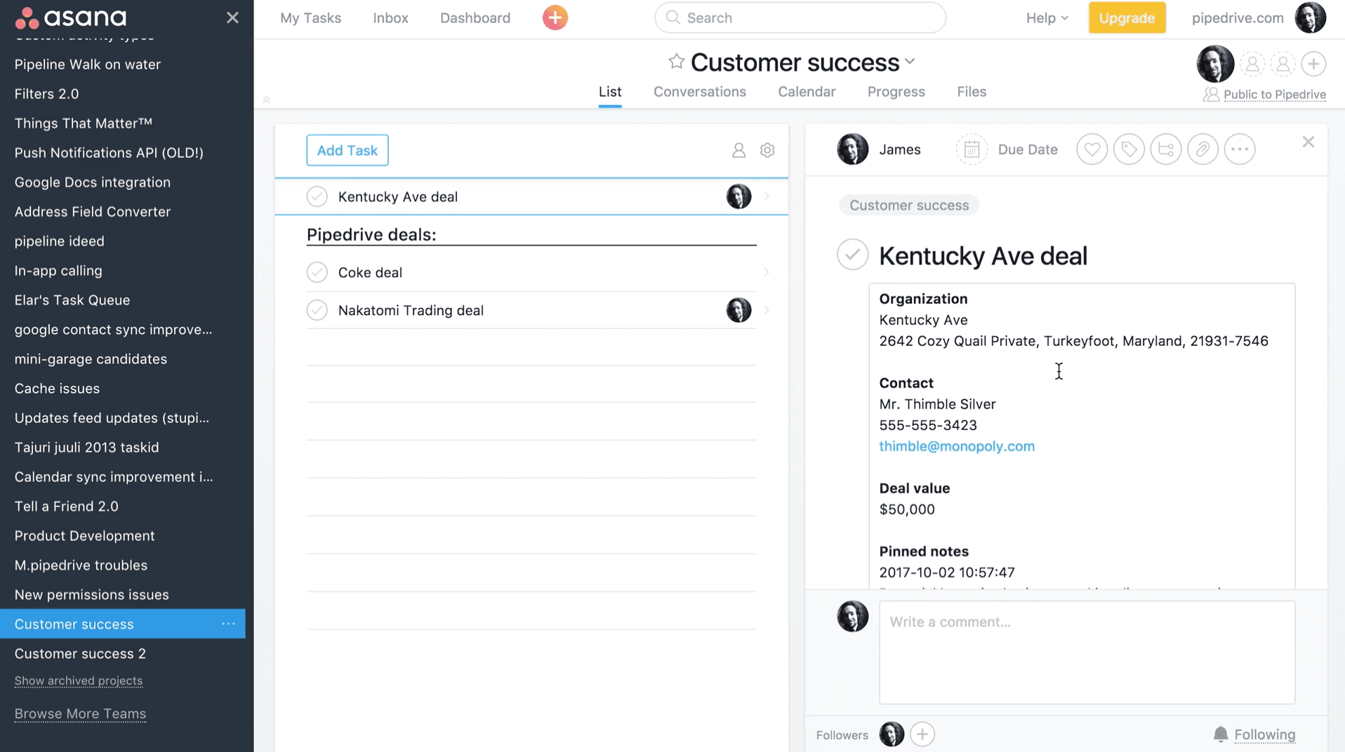 Pipedrive Deals become Asana Tasks Instantly