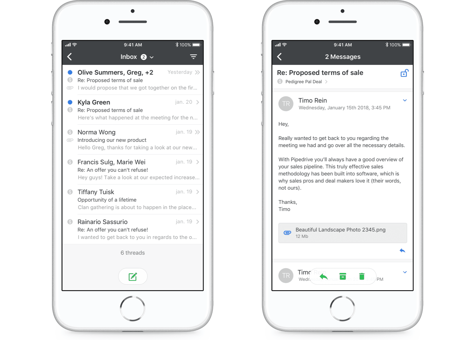 Pipedrivers can now view Mail directly in the iOS app